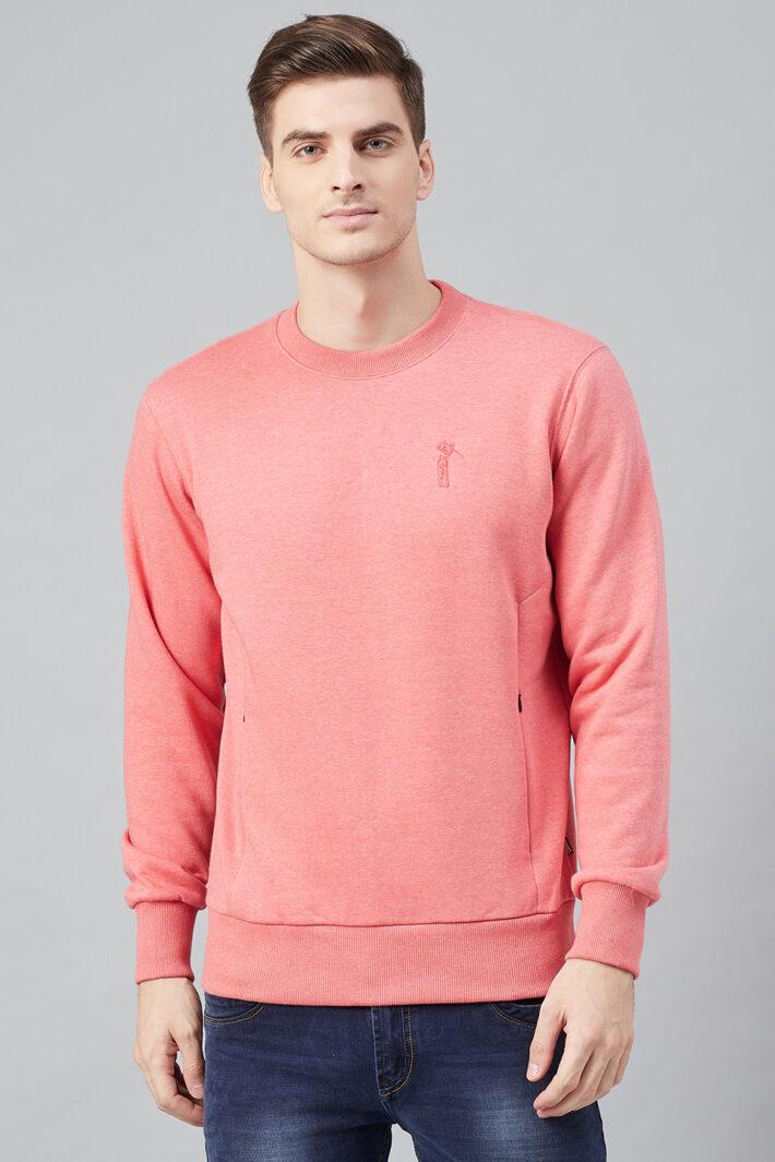 Fahrenheit Round Neck Fleece Sweatshirt Flamingo Pink