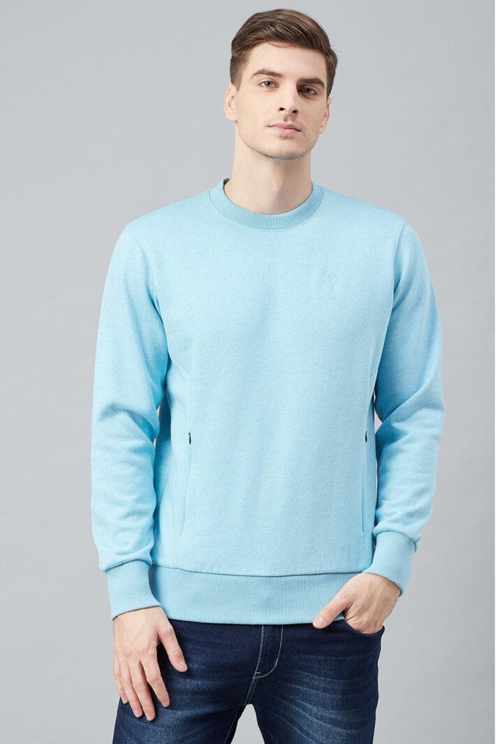 Fahrenheit Round Neck Fleece Sweatshirt Light Blue