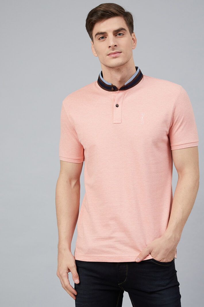 Fahrenheit Solid Stand-Up Collar Polo Shirt Pink