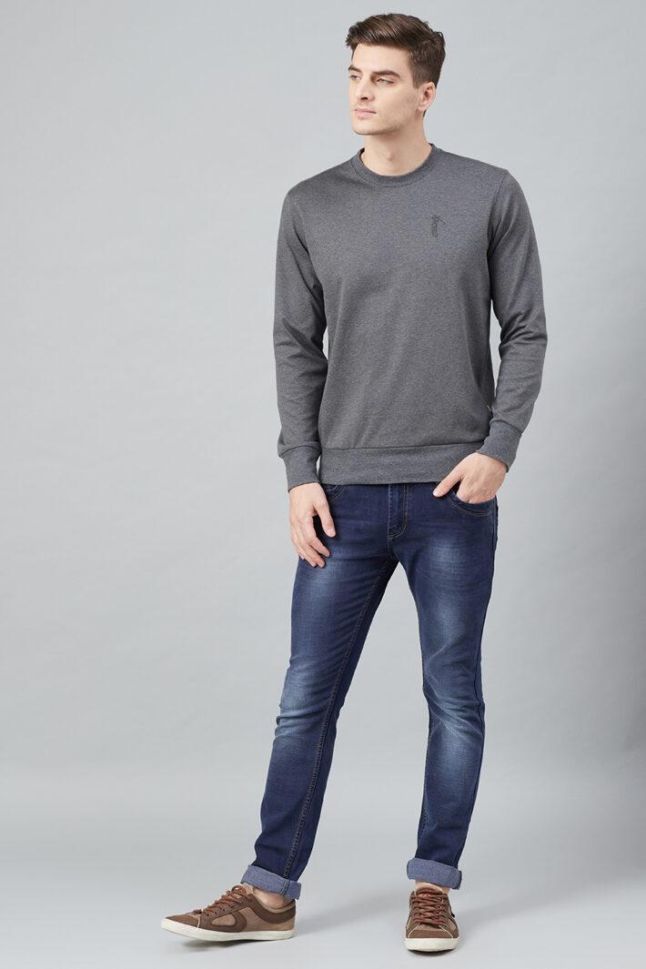 Fahrenheit Solid Round Neck Sweatshirt Grey