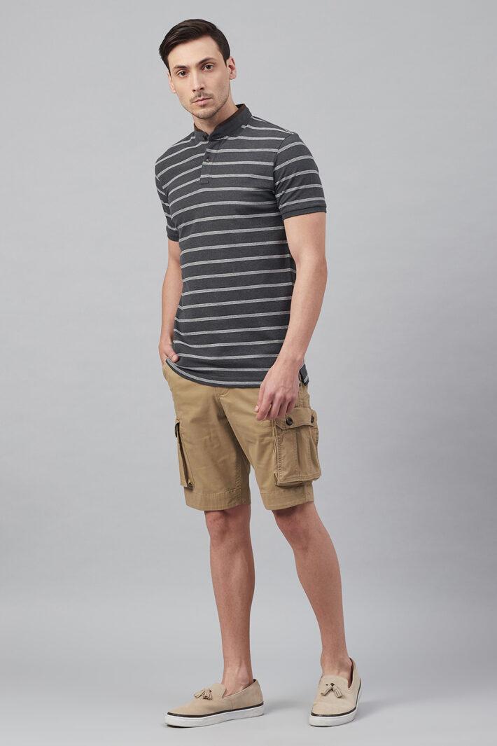 Fahrenheit Multi Feeder Stripes Stand-Up Collar Polo Shirt