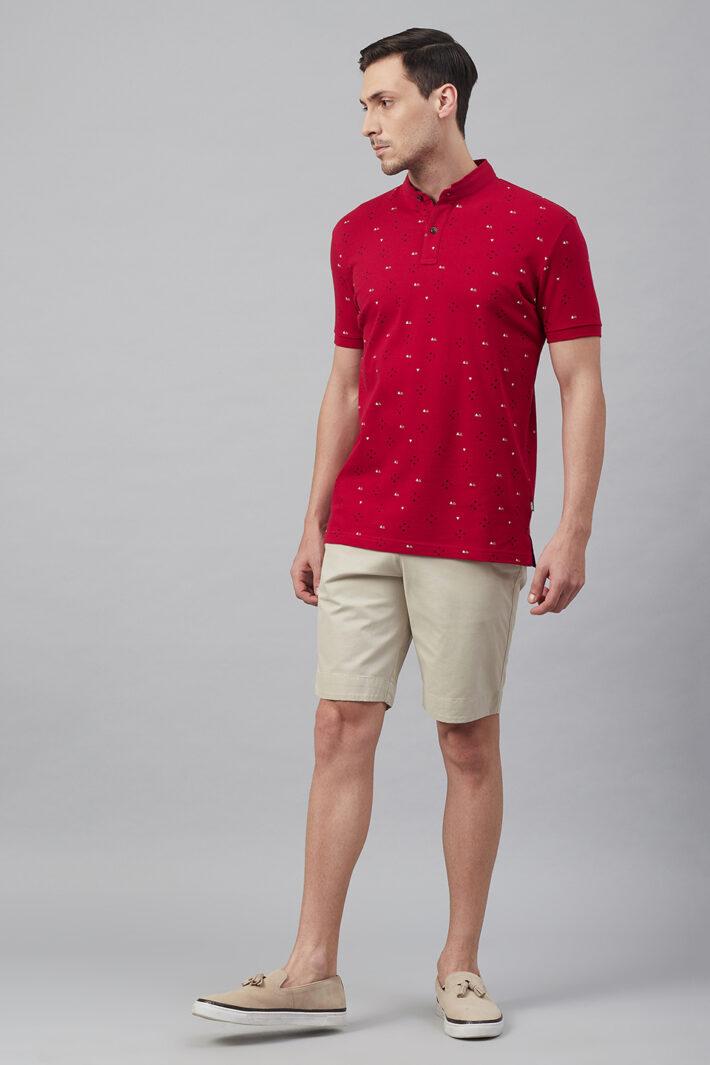 Fahrenheit Geometric Print Stand-Up Collar Polo Shirt Red