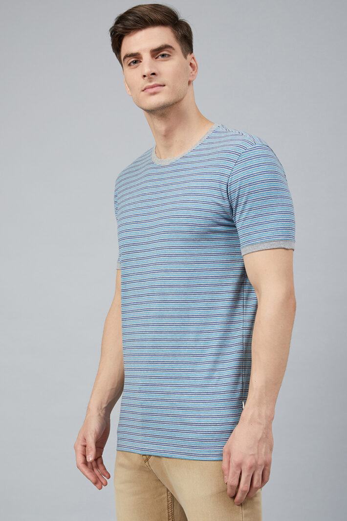 Fahrenheit Round Neck With Allover Feeder Stripes