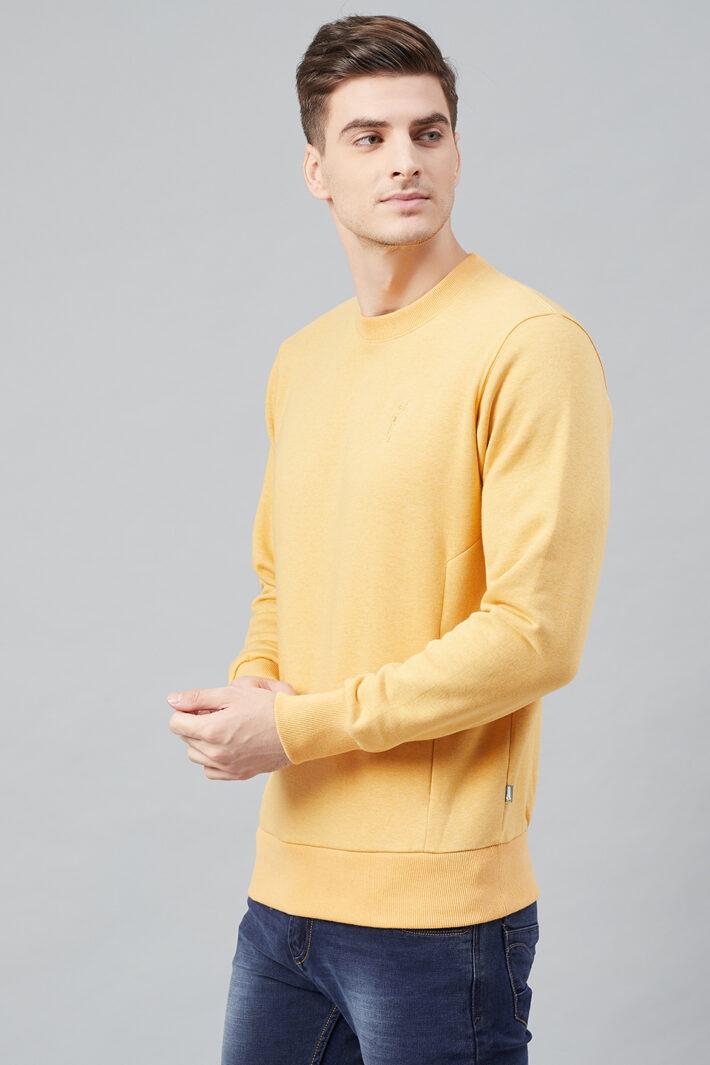 Fahrenheit Round Neck Fleece Sweatshirt Light Yellow
