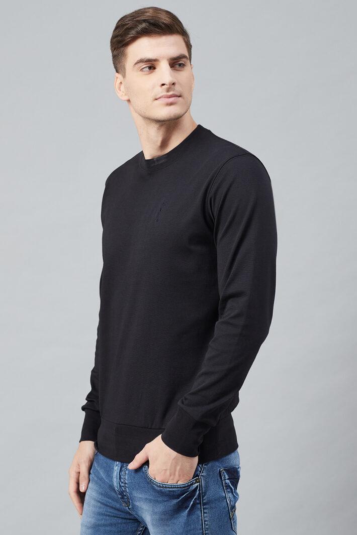Fahrenheit Solid Round Neck Sweatshirt Black