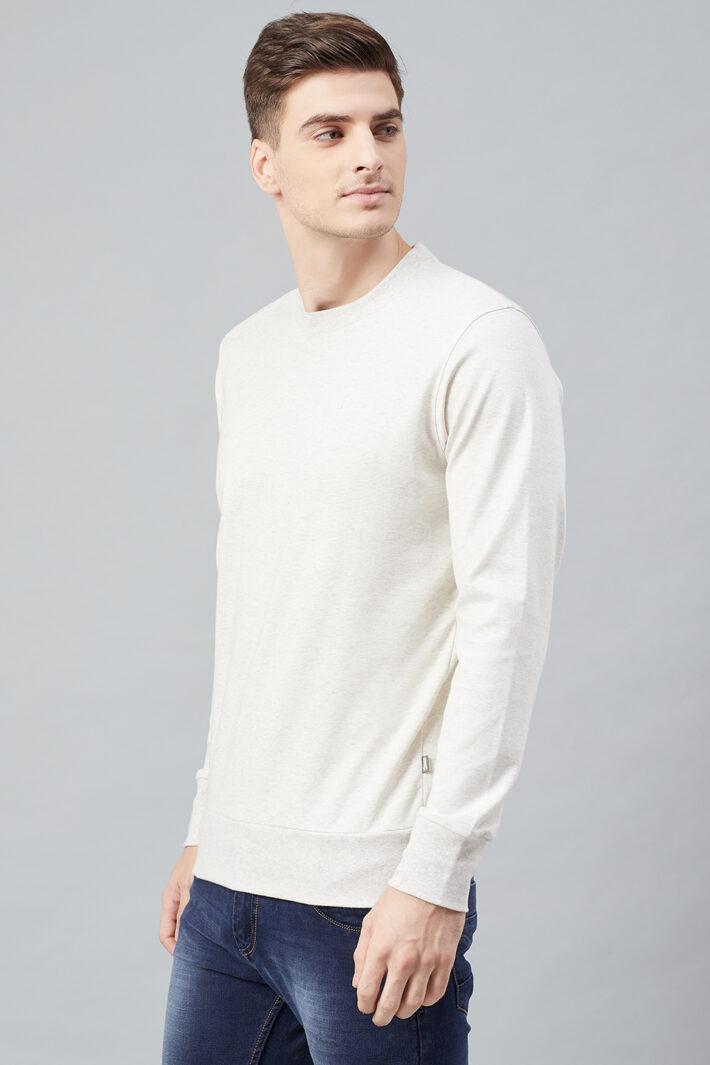 Fahrenheit Solid Round Neck Sweatshirt White