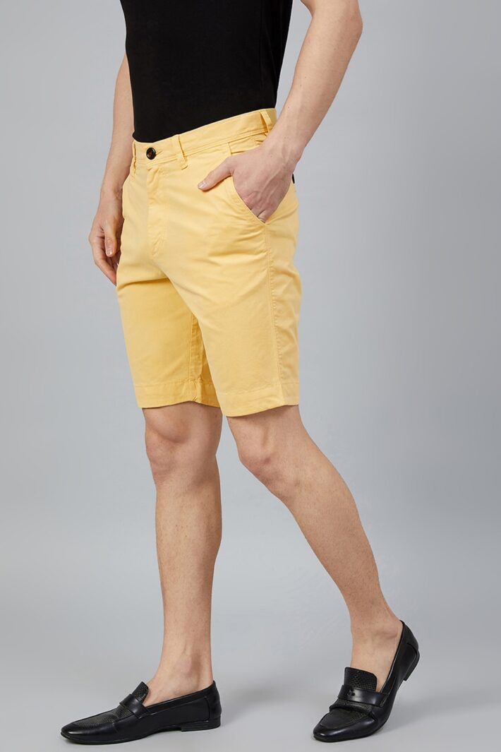 Fahrenheit Solid Straight Fit Shorts Yellow