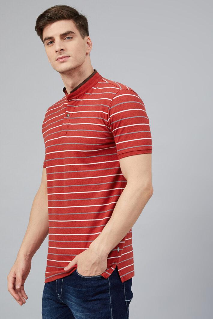 Fahrenheit Feeder Stripes Stand-Up Collar Polo Shirt