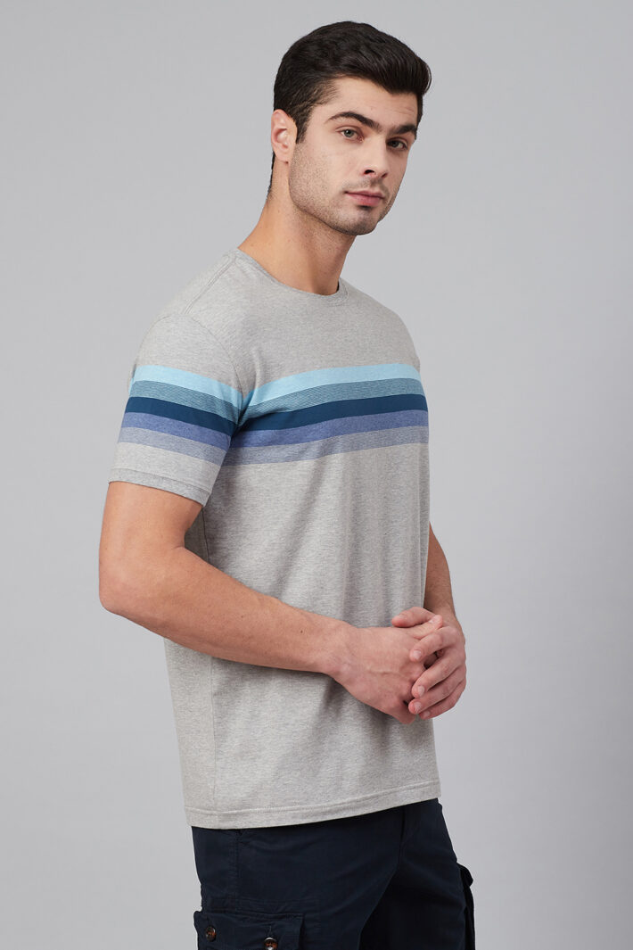 Fahrenheit Round Neck With Engineered Stripe On Chest