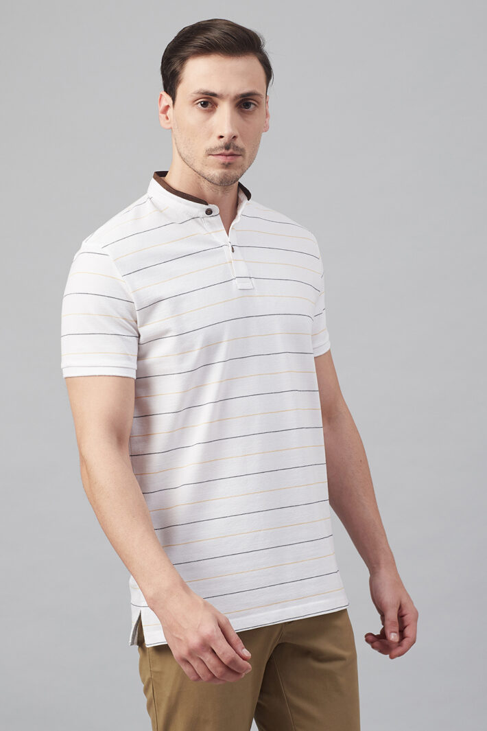 Fahrenheit Striper Stand-Up Collar Polo Shirt