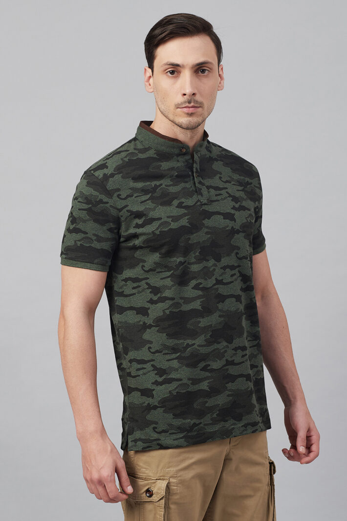 Fahrenheit Military Camouflage Print Stand-Up Collar Polo Shirt