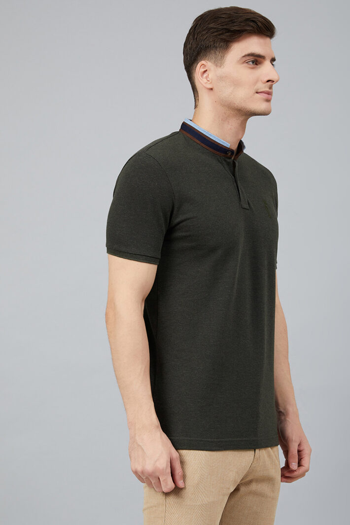 Fahrenheit Solid Stand-Up Collar Polo Shirt Black