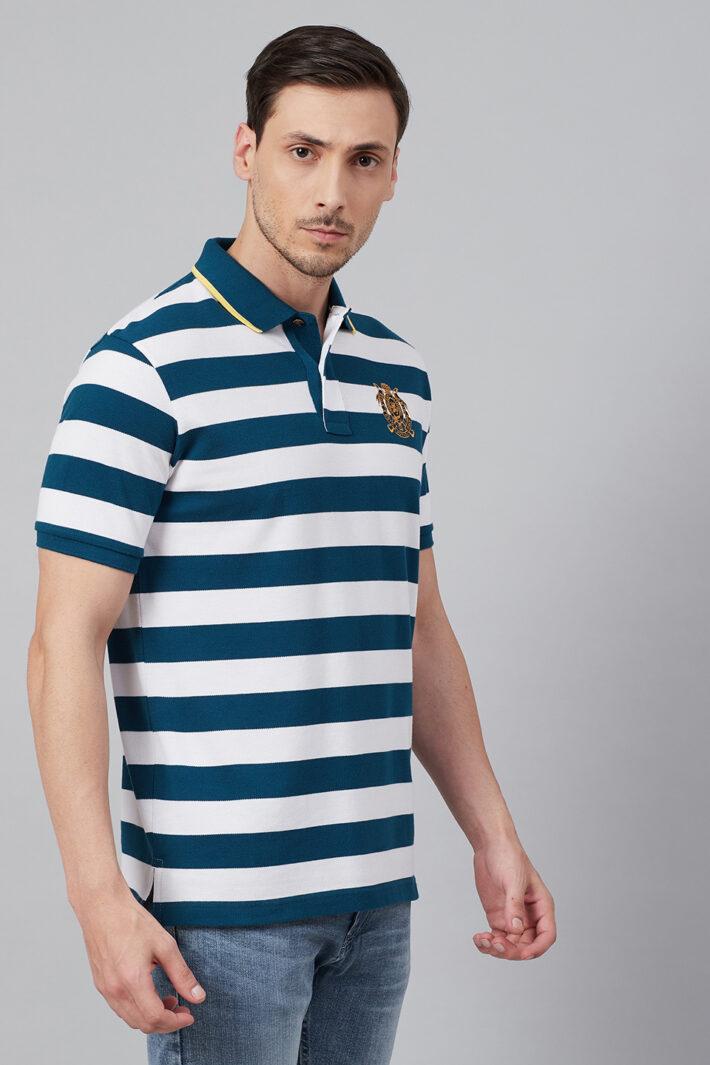 Fahrenheit Stripe Polo With Tipped Collar