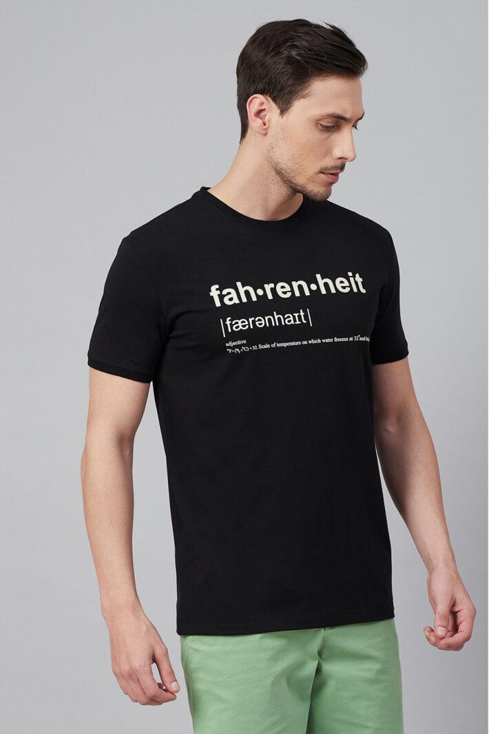 Fahrenheit Round Neck With Fahrenheit Print Black