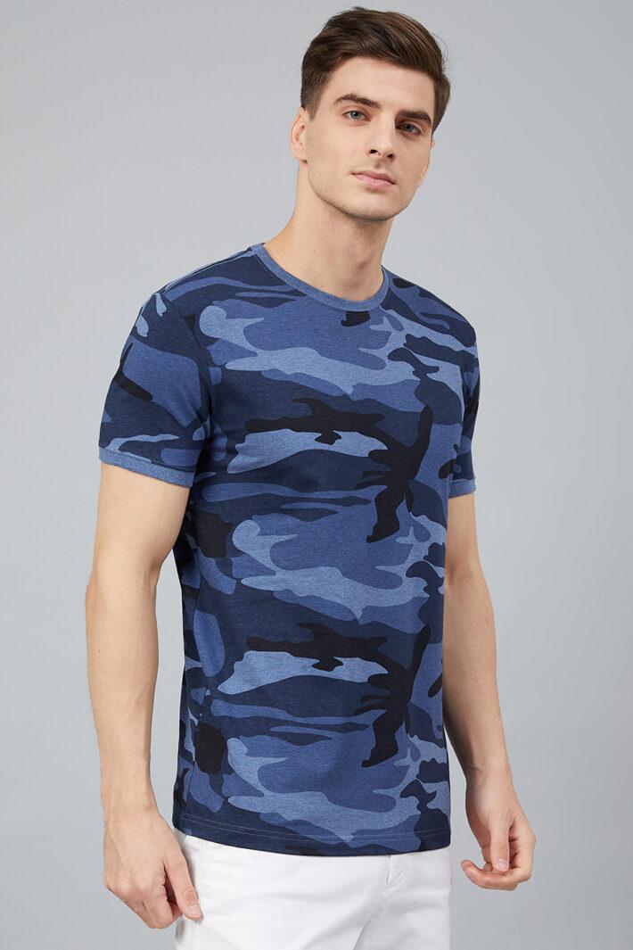 Fahrenheit Round Neck With Allover Camouflage Print
