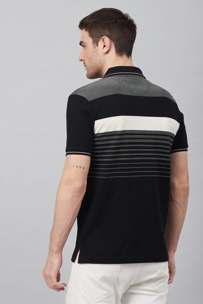 Fahrenheit Jacquard Knit With Engineered Stripe Polo