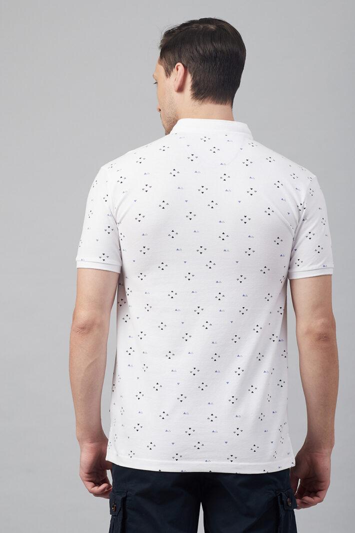 Fahrenheit Geometric Print Stand-Up Collar Polo Shirt
