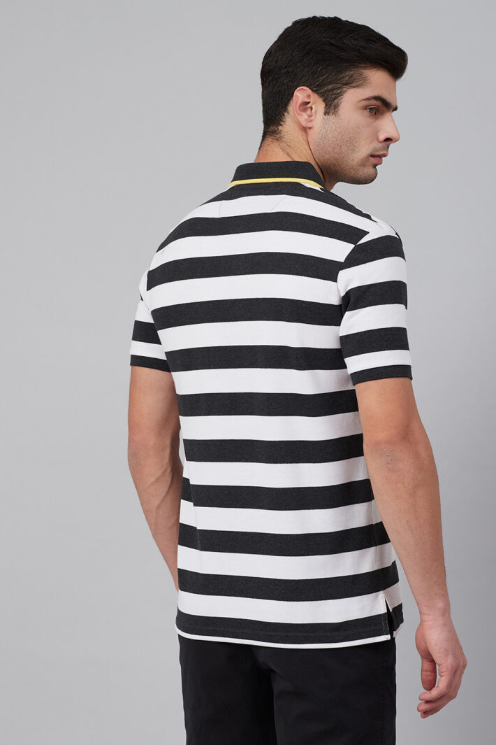 Stripe Polo With Tipped Collar