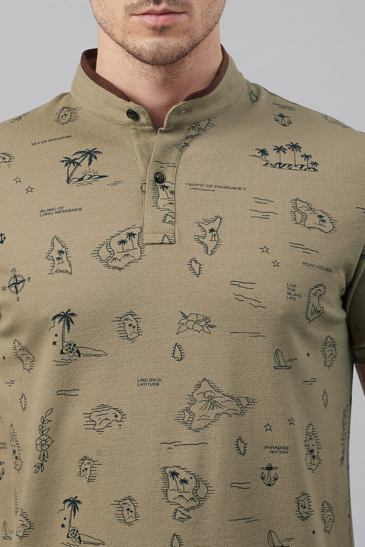 Fahrenheit Tropical Scenic Drive Print Stand-Up Collar Polo Shirt