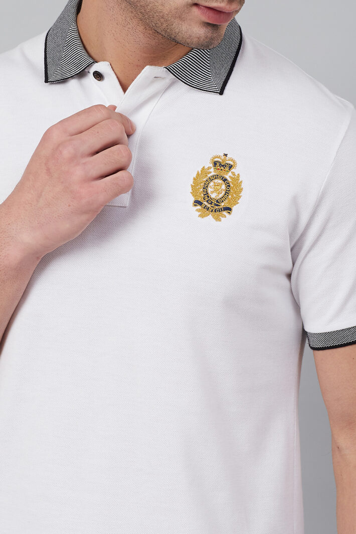 Fahrenheit Solid Polo With Jacquard Collar