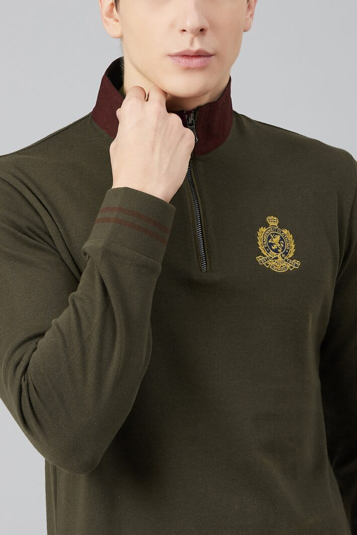 Fahrenheit Zip Neck Solid Rugby Polo
