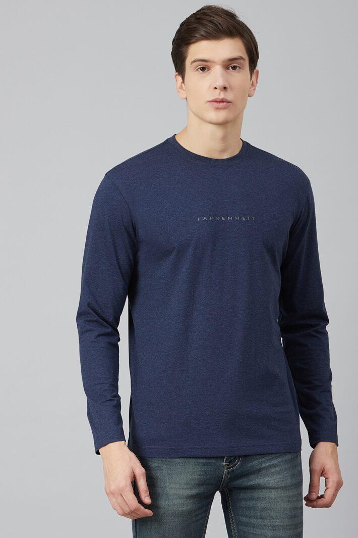 Fahrenheit Lycra Jersey Round Neck Navy Blue
