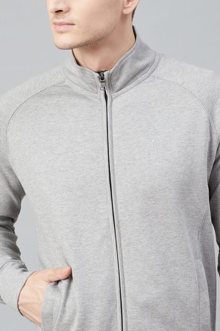 Fahrenheit Full Zip Lightweight Solid Sweatshirt Grey