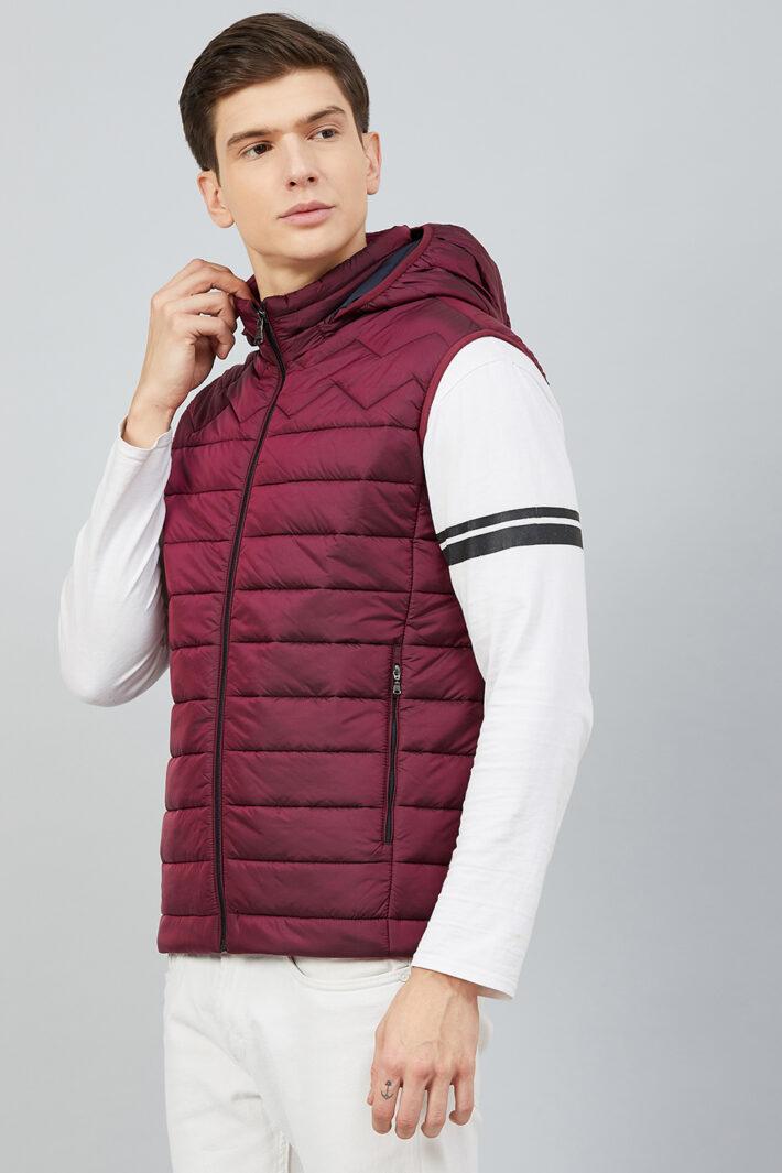 Fahrenheit Hooded Sleeveless Jacket Red
