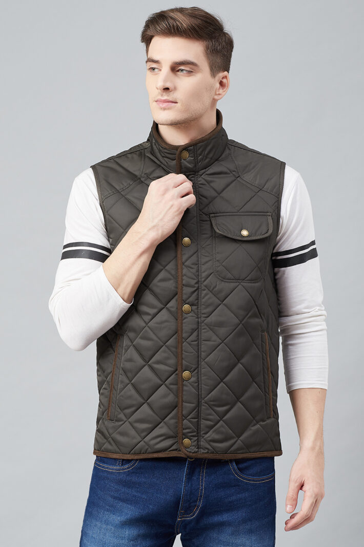 Fahrenheit Quilted Sleeveless Jacket Brown