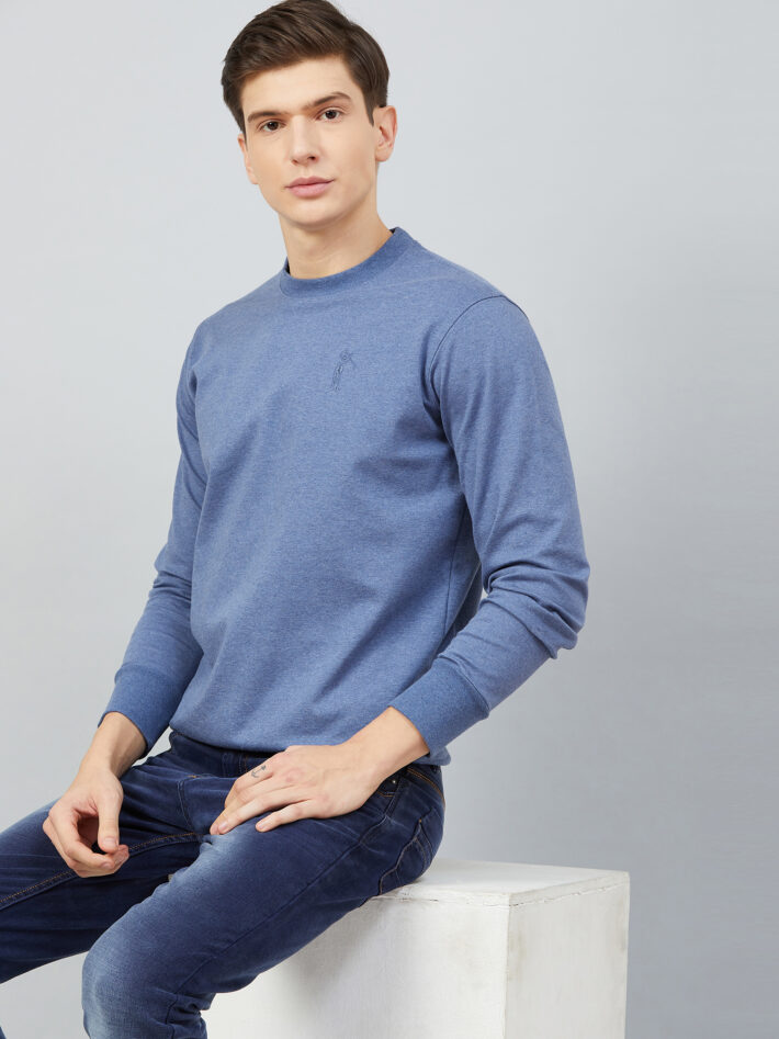Fahrenheit Solid Round Neck Sweatshirt Blue