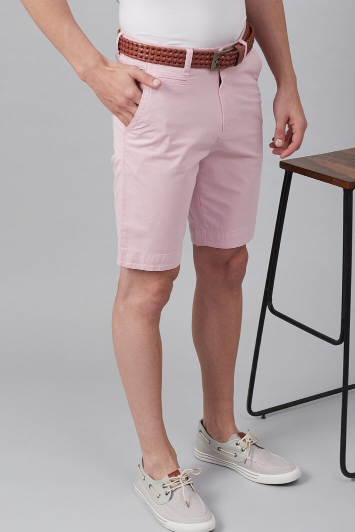 Fahrenheit Solid Straight Fit Shorts Pink